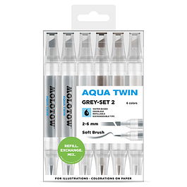 Twin marker Aqua Twin 1mm/2-6mm Wallet Basic-Set 2 6 pcs.
