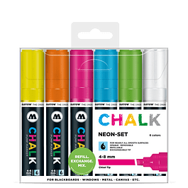 Chalk marker 4-8mm Colores Neón-Set II 6 pzs