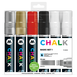 Chalk marker 15mm Wallet Basic-Set 1 6 pcs.