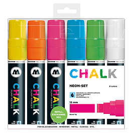 Chalk marker 15mm Wallet Basic-Set 2 6 pcs.