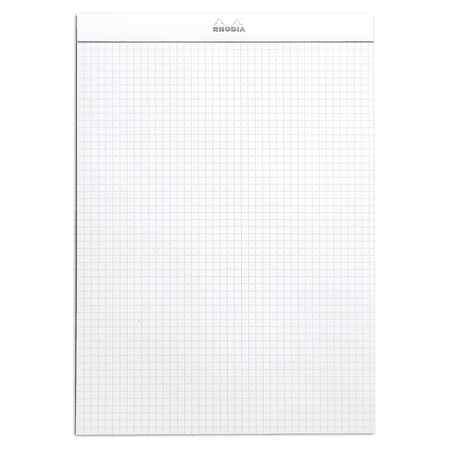 Rhodia WHITE head stapled pad N°18 21x29,7cm 80sh. sq.5x5 80g