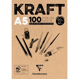 Bloc de Papel Kraft, Color marrón - Tamaño 14,8 x 21 cm