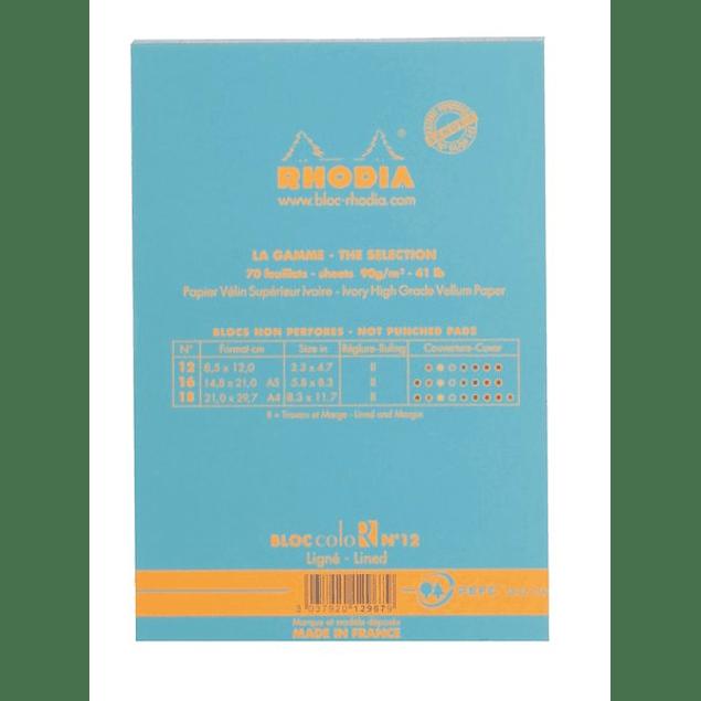 Rhodia ColorR Premium Stapled Notepad, Turquesa, Lined