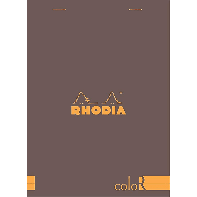 Rhodia ColorR Premium Stapled Notepad, Chocolate, Lined, 6 x 8 1/4