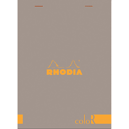 Rhodia ColorR Premium Stapled Notepad, Taupe, Lined, 6 x 8 1/4