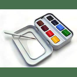 Aqua-mini, 8 media pastillas + 1 pincel ( Rango Profesional )