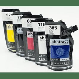 Set de 5 acílicos abstract, colores primarios