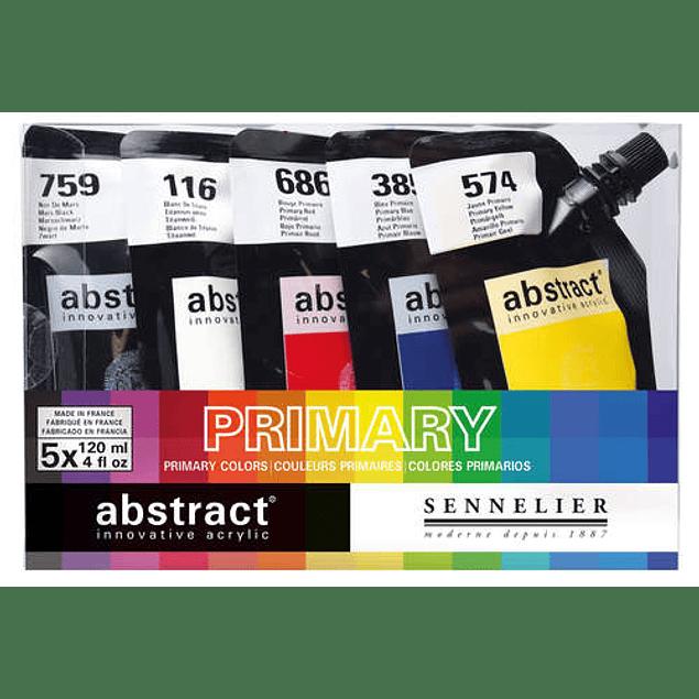 Set de 5 Acrílicos Abstract - Colores Primarios