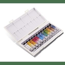 "Caja de plástico con 12 tubos de 10 ml Sennelier ""La petite Aquarelle"""