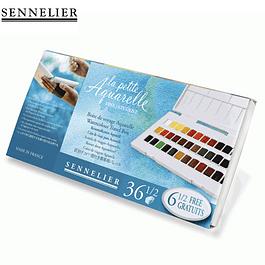 La Petite Aquarelle - Sennelier set de viaje - 36 medias pastillas