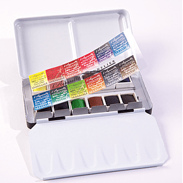 Caja de metal con 12 medio godets Sennelier Aquarelle