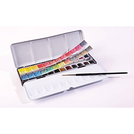 Caja de metal de 24 medio godet Sennelier Aquarelle + Pincel