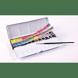 Caja de metal de 24 Medias Pastillas Sennelier Aquarelle + Pincel