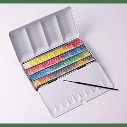 Caja de metal 48 medias pastillas + 1 pincel