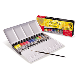 Caja de metal 12 tubos 10 ml + 1 pincel