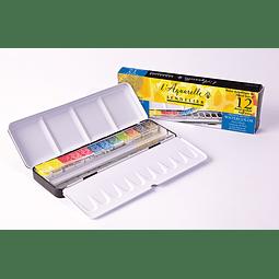 Caja de metal 12 media pastillas + 12 compartimientos