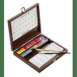 Sennelier caja de lujo 24 medias pastillas, con 2 pinceles y una paleta de porcelana