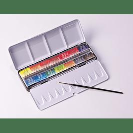 Caja de metal 14 pastillas + 1 pincel