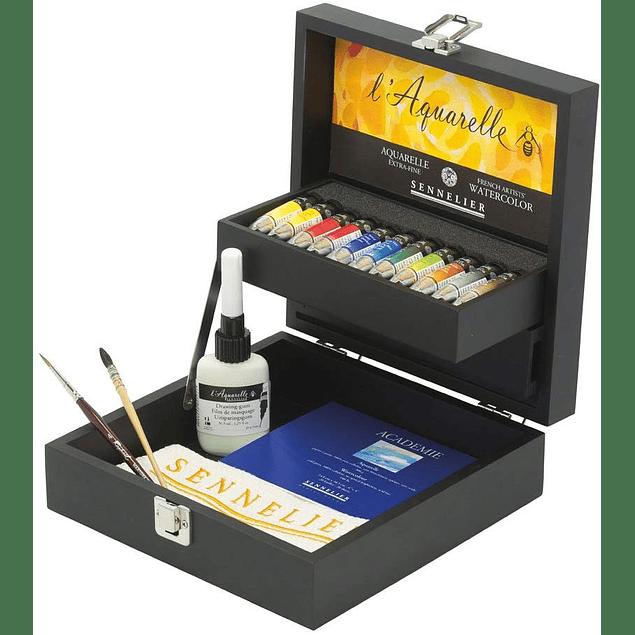 Sennelier L'Aquarelle, Caja de madera conjunto de 11x10ml