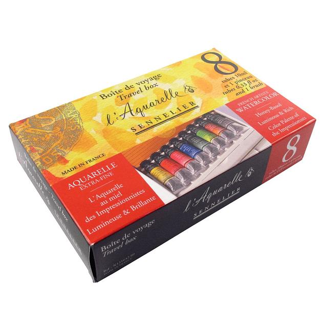 Set de caja de viaje de tubo de acuarela Sennelier Artists 8 x 10 ml
