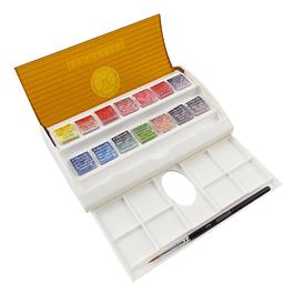 Set de caja de viaje de acuarela de artistas Sennelier de 14 medias pastillas