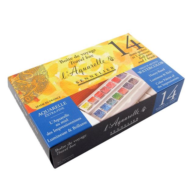 Caja de viaje de acuarela de artistas Sennelier de 14 medias pastillas
