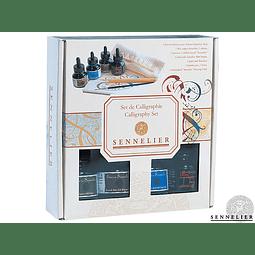 Set de Caligrafía 4 tintas + 1 cálamo, 1 Pincel, 1 paño y 1 Block