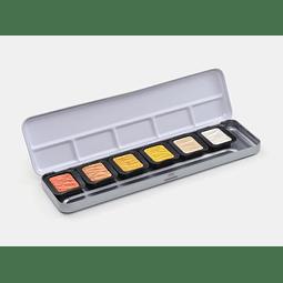 6 Colores Pearlescentes  30 x 22 mm en caja de metal