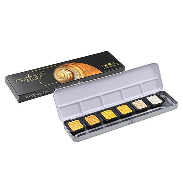 6 Colores Pearlescentes 30x22 mm en caja metálica Finetec