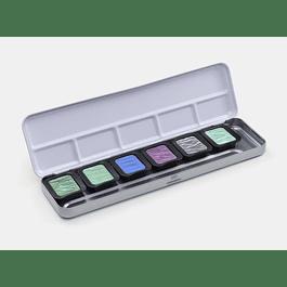5 colores nacarados + 1 flip-flop de 30 x 22 mm en una caja de metal
