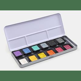 12 Colores Pearlescentes 30 x 22 mm en caja metálica