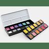 22 colores perlados + 2 flip-flop 30 x 22 mm en una caja con tapa de metal
