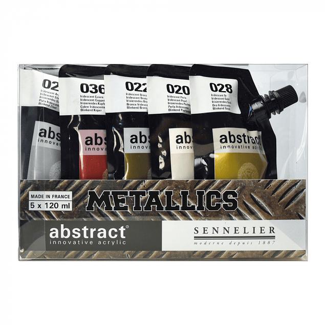 Bolsas de pintura acrílica abstracta de Sennelier - 5 x 120 ml - Metallics