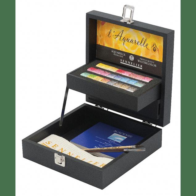 Set de acuarela Sennelier Artist Quality con 24 medias pastillas en caja de madera