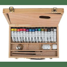 Sennelier Artists' Gouache caja de madera de 15 colores + accesorios