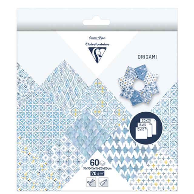 ORIGAMI PACK 60 HOJAS 3 TAMAÑOS - Oriente azul