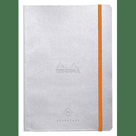 Cuaderno de Rhodia perpetual 128 páginas marfil 14, 8 x 21 cm con banda elástica, tapa plateada