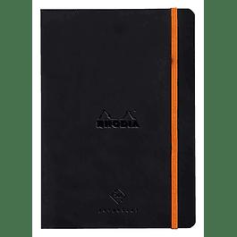 Cuaderno de Rhodia perpetual 128 páginas marfil 14, 8 x 21 cm con banda elástica, color negro