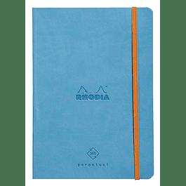 Cuaderno de Rhodia perpetual 128 páginas marfil 14, 8 x 21 cm con banda elástica, color turquesa