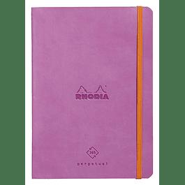 Cuaderno de Rhodia perpetual 128 páginas marfil 14, 8 x 21 cm con banda elástica, color lila