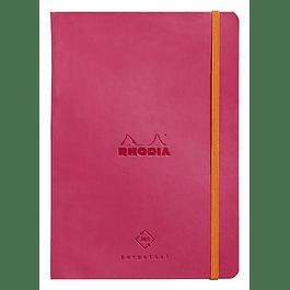 Cuaderno de Rhodia perpetual 128 páginas marfil 14, 8 x 21 cm con banda elástica, color frambuesa