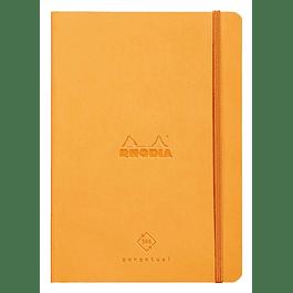 Cuaderno de Rhodia perpetual 128 páginas marfil 14, 8 x 21 cm con banda elástica, color naranja