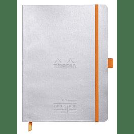 Rhodiarama Meeting 160 páginas blancas microperforadas 90 g con banda elástica y soporte para bolígrafo, tapa plateada