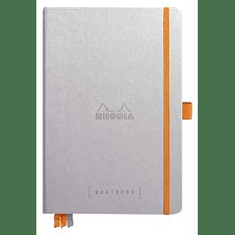 RHODIARAMA Goalbook tapa rígida 14, 8X21 cm 240 páginas pequeños puntos (DOT), papel marfil numerado 90 g, cierre elástico y portalápices, color plateado