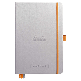Cuaderno Rhodia Tapa dura GoalBook hojas color marfil - 14,8 x 21 cm - Color Plata