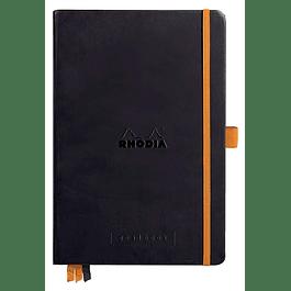 RHODIARAMA Goalbook tapa rígida 14, 8X21 cm 240 páginas pequeños puntos (DOT), papel marfil numerado 90 g, cierre elástico y portalápices, color negro