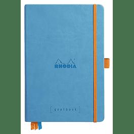 RHODIARAMA Goalbook tapa rígida 14, 8X21 cm 240 páginas pequeños puntos (DOT), papel marfil numerado 90 g, cierre elástico y portalápices, color turquesa