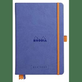 RHODIARAMA Goalbook tapa rígida 14, 8X21 cm 240 páginas pequeños puntos (DOT), papel marfil numerado 90 g, cierre elástico y portalápices, color Zafiro