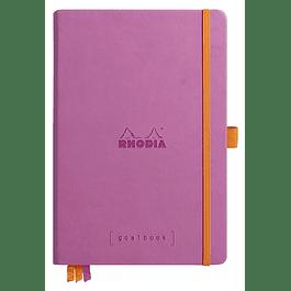 RHODIARAMA Goalbook tapa rígida 14, 8X21 cm 240 páginas pequeños puntos (DOT), papel marfil numerado 90 g, cierre elástico y portalápices, color Lila