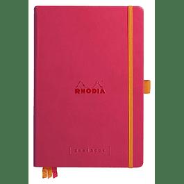 RHODIARAMA Goalbook tapa rígida 14, 8X21 cm 240 páginas pequeños puntos (DOT), papel marfil numerado 90 g, cierre elástico y portalápices, color Frambuesa
